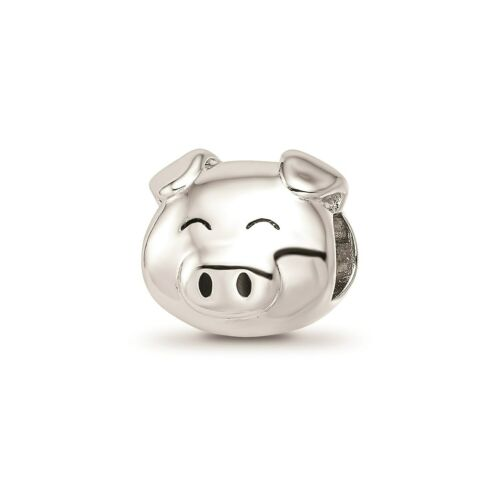 Reflection Beads Sterling Silver Rhodium Plaqué 3D EMAILLE cochon Bead