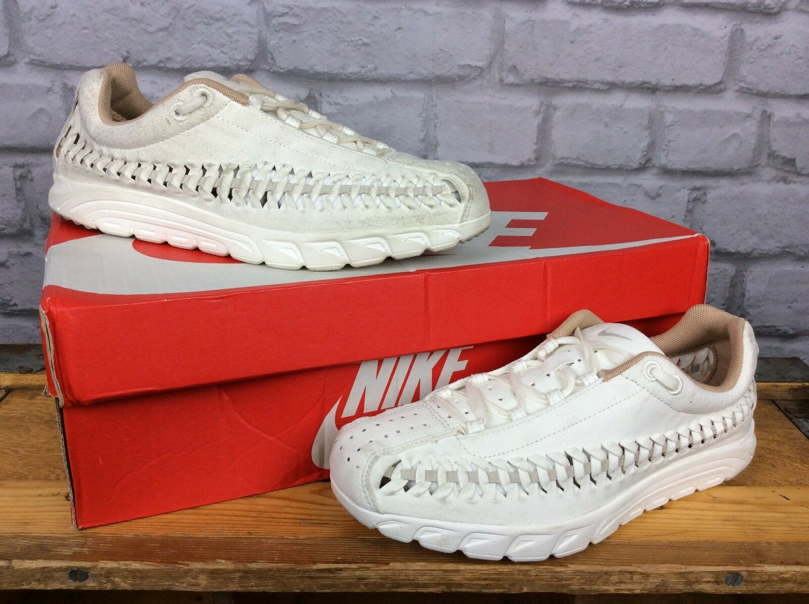 NIKE LADIES5 EU 38.5 NEUTRAL CREAM MAYFLY WOVEN SUEDE TRAINERS  95