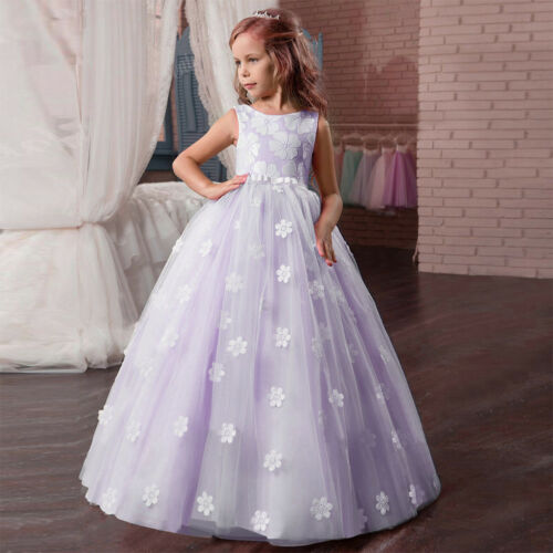 Birthday Kid/'s Wedding Bridesmaid Flower Girls First Communion Ball Gown Dress