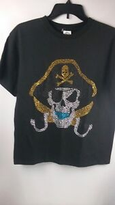 6e74fae94c Details about Delta Pro weight Girl Pirate T-Shirt X-Large Bling Black 100%  PreShrunk Cotton
