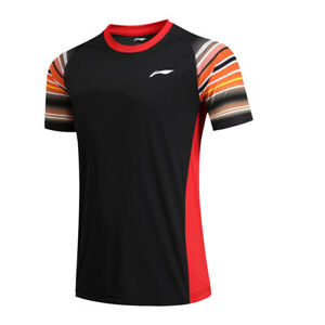 2019 New Li Ning Quick-drying men/'s Tops tennis clothes T shirt Dragon print