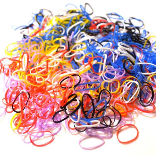 1000 Poly Tails Rubber Braiding Plaits Hair Elastic Bands Clear colour variation