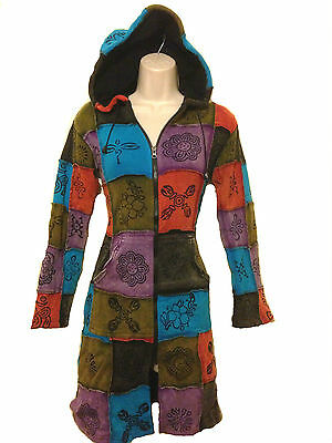 Pixie Hooded Hippie Long Jacket Patched With Traditional Symbol,Long Hippy Coat