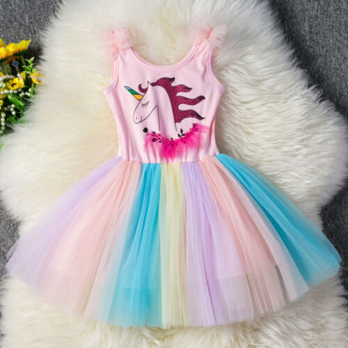 Unicorn Print Girls Kids Party Tutu Skirt Dress Rainbow Lace Mini-dress Outfits