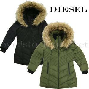 eb3f6ce1da90 NEW GIRLS DIESEL LONG HOODED PARKA! DETACHABLE FAUX FUR TRIM ...