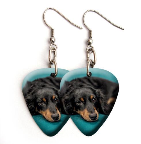 Dachshund Dog Puppy Guitar Pick Plectrum Necklace Keyring Bracelet Earrings #18