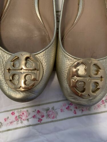 Tory Burch Gold Leather Flat 7 1/2 Shoe Claire Bal