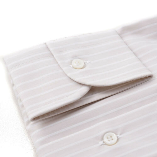 35 Camisa blanco algodón 16 Nwt vestir X rayas de 650 con Brioni y beige de en Sand Tw5qPa5