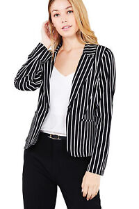 Women-039-s-Juniors-Premium-Stretch-Striped-Long-Sleeve-Jacket