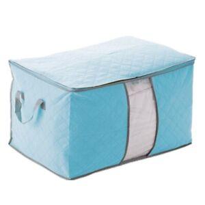 1X-Bleu-Housse-De-Rangement-Stockage-Sac-Boite-Pliable-Pour-Couette-Vetement-f5