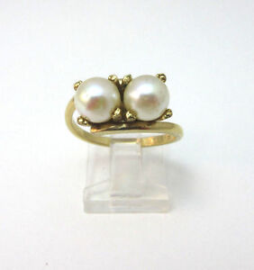 10K GOLD FILLED SIMULATED DOUBLE PEARL RING SIZE 8