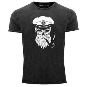 Cooles-Angesagtes-Herren-T-Shirt-Vintage-Shirt-Captain-Skull-Totenkopf-Aufdruck