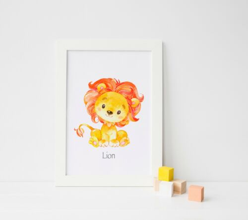 Cute Animal Prints Girls Bedroom Watercolour Pictures for Nursery Boys