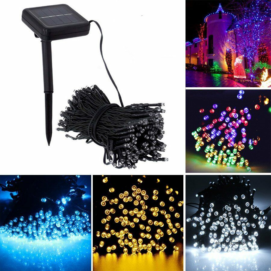 Solar Garden Flower 50 100 LED Light String Powered Fairy Party Outdoor White