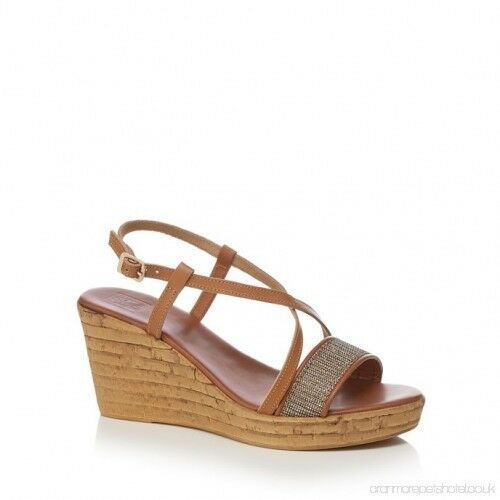 The Collection Tan 'Candy' leather high wedge sandals UK 8 EU 41 NH180 PP 02