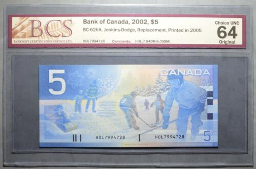 7.840-8.000M CANADA $5 2005 HOL CHOICE UNC 64 BCS Graded - REPLACEMENT