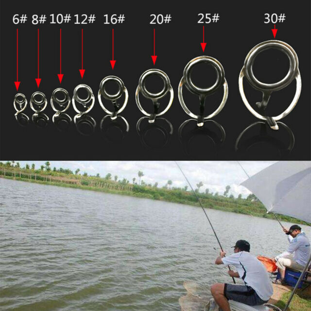 8X Repair Kit Fishing Rod Guides Tips Line Rings For Making Building JFLS