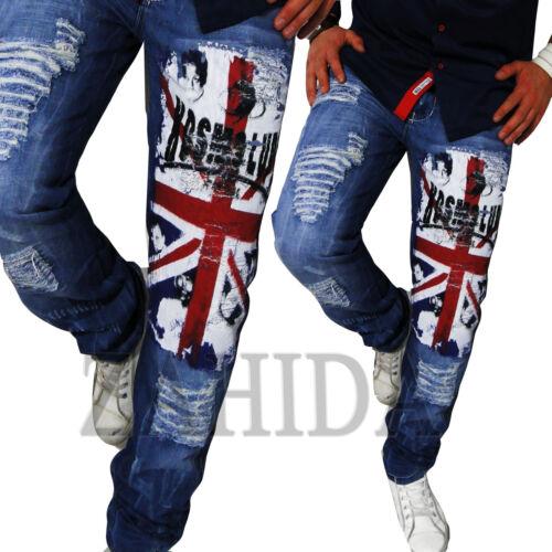 KOSMO Jeans Uomo Designer Pantaloni Cargo Style Blu Colori attenuati Clubwear Lupo km444