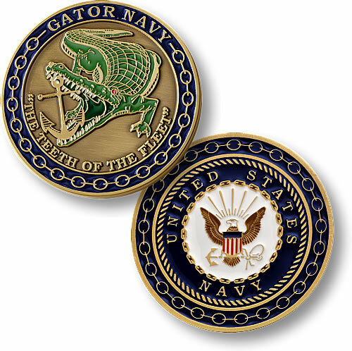 NEW U.S. Navy Amphibious Warfare - Enamel Gator Navy Challenge Coin. 60105.