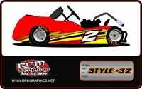 Racing Go Kart Wrap With Front And Rear Numbers, Graphics, Wraps, Decals