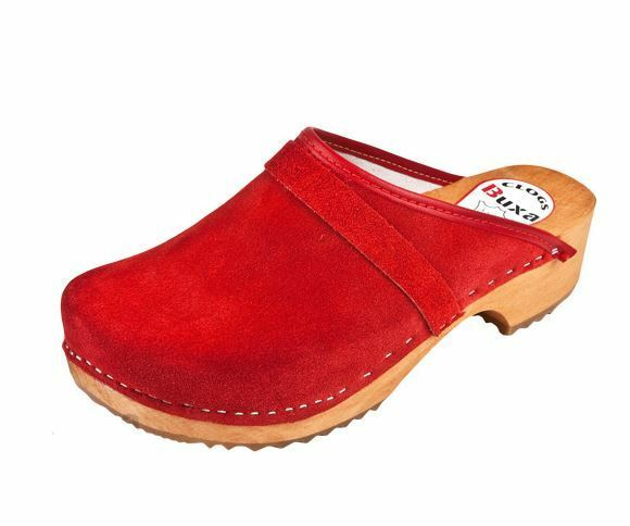 Uomo  Wooden   Suede Swedish clogs   Red color