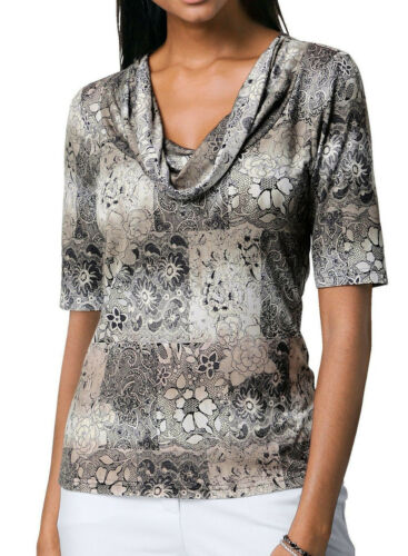 Kp 59,95 € SOLDES/%/%/% Alba Moda pression shirt Neuf!! couleur taupe