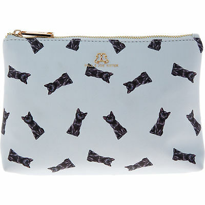 PAUL & JOE SISTER blue kitty cat print makeup bag cosmetic case wash kitten asos