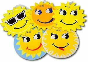 Smiley Sun Car Air Freshener (10 Pack) 5 Different Fragrances Long Lasting