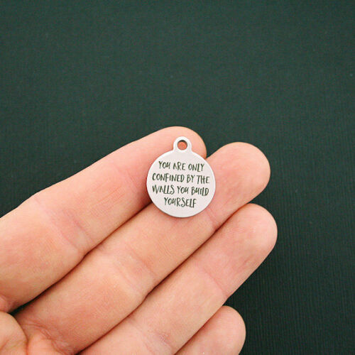 Motivational Stainless Steel Charms You are only confined BFS1204