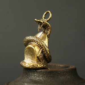 Antique-Brass-Snake-Pendant-Statue-Chinese-Zodiac-Lucky-Pocket-Gift-Ornament