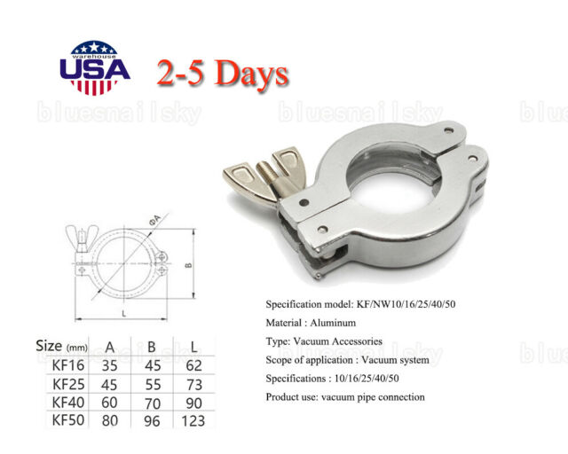 US 5Size KF Aluminum Vacuum Fitting Wing Nut Flange Clamp for Vacuum Piping  Tube