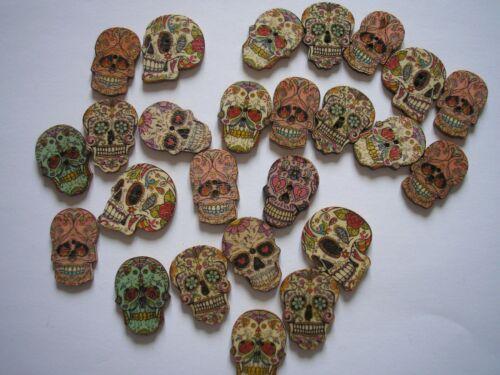 Botones madera /'Azúcar Calaveras/'s X 11 Gótico Adornos día de los muertos