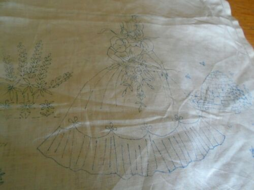 Vintage Estampado bordado de lino panel crinolina Lady