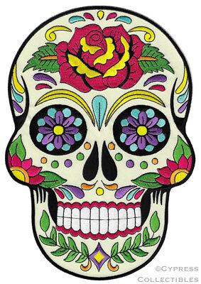 SUGAR SKULL PATCH iron-on embroidered DIA DE LOS MUERTOS CALAVERA DAY OF DEAD