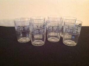 Vintage-Grape-amp-Vine-Design-8-ounce-Tumbler-Clear-Glasses-Set-of-7-FREE-SHIP