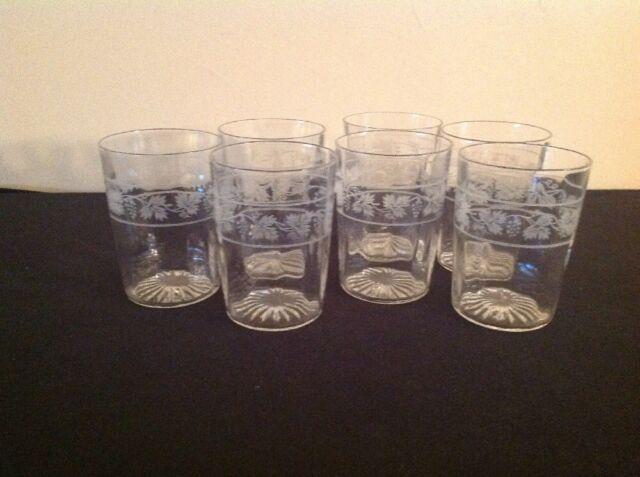 Vintage Grape & Vine Design 8-ounce Tumbler Clear Glasses; Set of 7; FREE SHIP