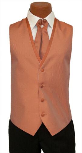 Medium Long Mens Burnt Orange Diamond Fullback Wedding Prom Tuxedo Vest and Tie