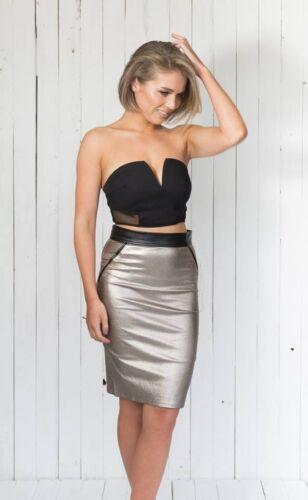Spicy Sugar Womens Ladies Gold Bronze Pencil Skirt Midi Cocktail Party Clubwear