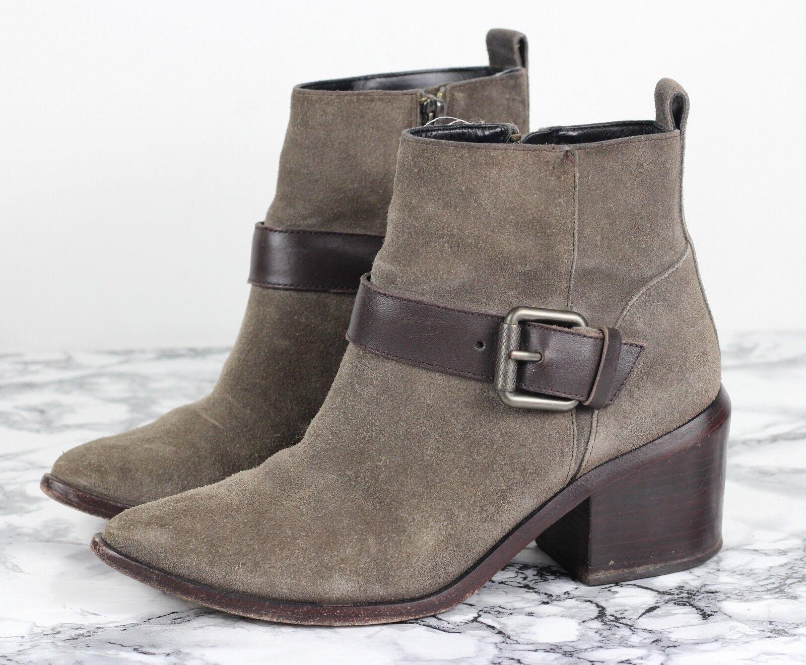ALL SAINTS Beige Suede JASON Leather Buckle Ankle Stiefel, Größe EU 38   UK 5