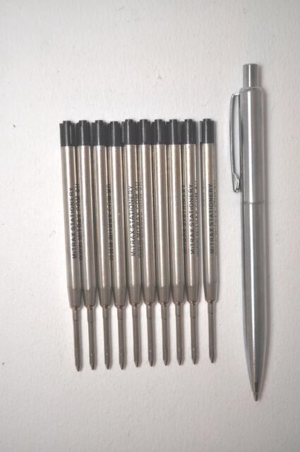 10 Black refills 0.7mm point compatible with Parker pens + bonus steel click pen