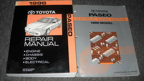 1996 Toyota Paseo Service Shop Repair Manual Set Oem 96 W
