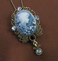Dark Light Blue Navy Cameo Pendant Necklace Antique Brass Tone Crystal Stone Q2