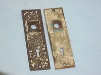 Antique Pair Of Victorian EASTLAKE Solid CAST IRON Door Knob Backplates.
