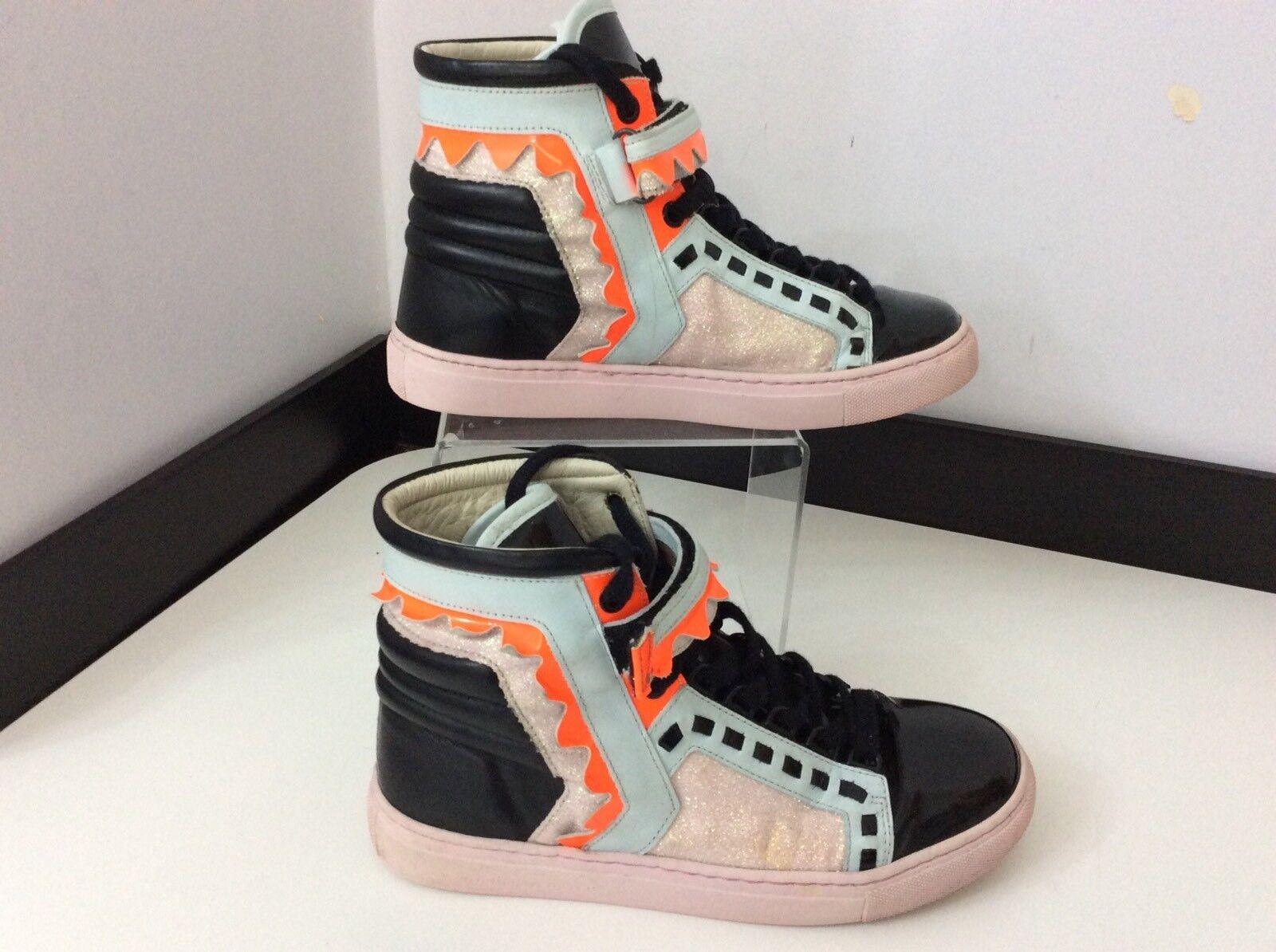 Sophia Webster Hi Top Zapatillas botas Negro y y y rosado Cuero Talla 35 Reino Unido 2.5  almacén al por mayor