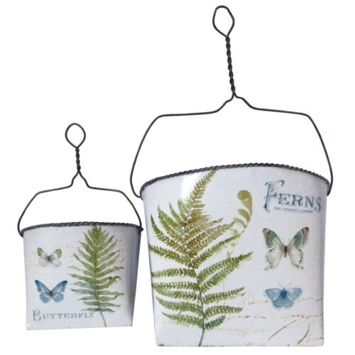 Suitable for Plants and Flowers Set of 2 Hanging Buckets with Butterfly Design