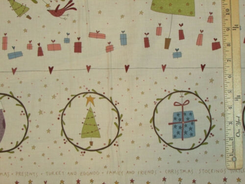 "Under the Mistletoe Primitive Christmas Fabric Panel 23/""  #8329P"