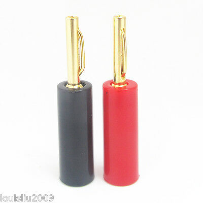 1pair Gold 4mm Bananan Plug EU Type Screw Connectors for Speaker Cable Wire new