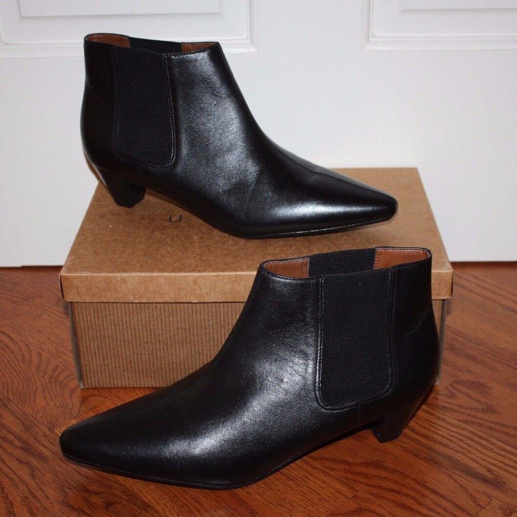 Nuevo en caja de Negro cuero para mujer UNISA Russo Negro de Napa Botines Zapatos Talla 10 7e8502