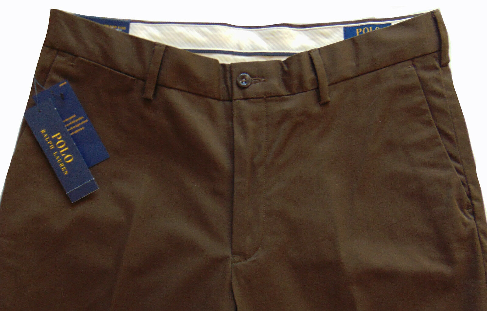 Men's POLO RALPH LAUREN Vtg Brown Stretch Classic Fit Twill Pants 32x32 NEW NWT