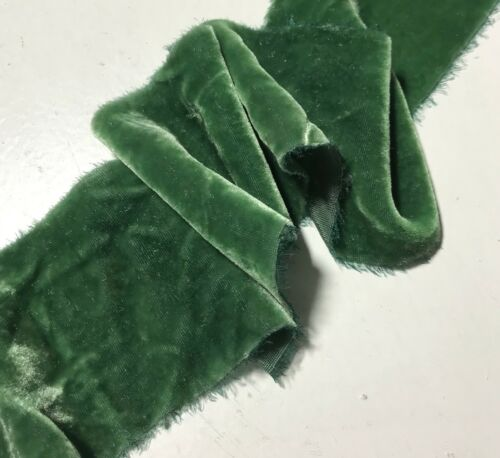 Hand Dyed Spruce Green Silk Velvet Ribbon 3 Widths to choose from